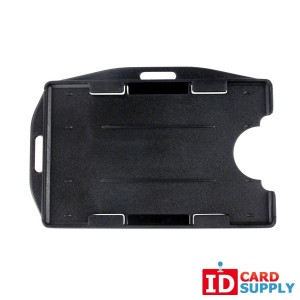 Black Rigid Plastic Horizontal or Vertical  2 Card Badge Holder [50 per pack]