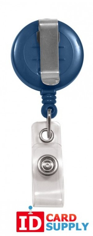 "Navy Blue ""No-Twist"" Badge Reel with Belt Clip and Clear Vinyl Strap 