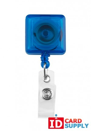 25 Blue Badge Reels With Clear Vinyl Strap & Belt Clip