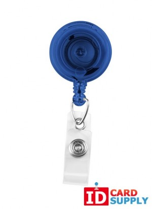 Translucent Blue Badge Reel with Clear Vinyl Strap & Spring Clip | QTY: 25