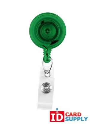 Pack of 25 Translucent Green Badge Reels with Clear Vinyl Strap & Spring Clip