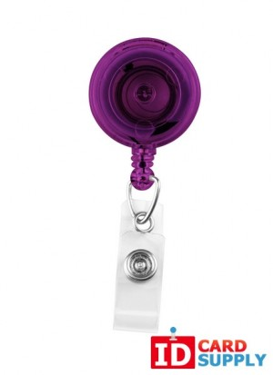 Pack of 25 Translucent Purple Badge Reels w Swivel Spring Clip & Clear Vinyl Strap