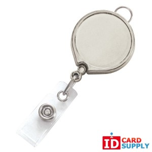 QTY: 25 | Chrome Metallic Badge Reel With Clear Vinyl Strap & Belt Clip