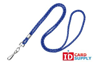 "Royal Blue round 1/8"" Silver Metallic Lanyard w/ Swivel Hook (100) 