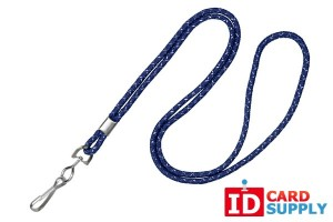 "{2135-3023} Pack of 100 1/8"" Navy Blue Silver Metallic Lanyards w/ Nickel Plated Steel Crimp and Swivel Hook"