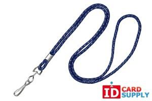 "{2135-3023} Pack of 100 1/8"" Navy Blue Silver Metallic Lanyards w/ Nickel Plated Steel Crimp and Swivel Hook"