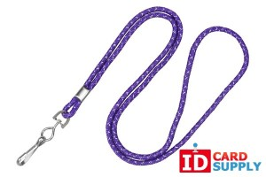 "{2135-3029} Purple 1/8"" Round Silver Metallic Lanyard w/ Steel Crimp and Swivel Hook (QTY 100)"