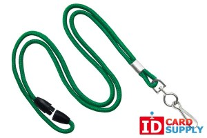 "Green 1/8"" Lanyard with Nickel-Plated Swivel Hook and Breakaway Strap (QTY:100)"