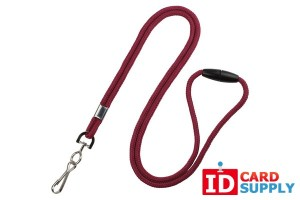 "QTY: 100 | Maroon 1/8"" Round Breakaway Lanyard w/ Nickel-Plated Steel Swivel Hook"