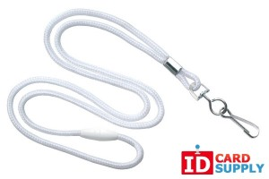 "White Round 1/8"" Lanyard w/ Breakaway and Nickel-Plated Steel Swivel Hook (QTY 100)"