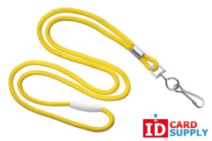Yellow Round 3mm Lanyard w/ Breakaway Feature and Steel Swivel Hook (100)