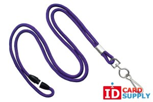 "Purple Round 1/8"" Lanyard with Swivel Hook and Breakaway Feature (Pack of 100)"