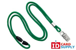 "QTY: 100 | Green 1/8"" Lanyard w/ Nickel-Plated Steel Bulldog Clip and Breakaway Feature"
