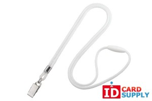 "QTY: 100 | White Round 1/8"" Lanyard w/ Breakaway & Nickel-Plated Bulldog Clip"