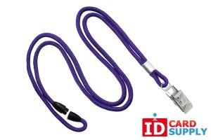 Qty: 100 | Purple 3mm Round Lanyard w/ Breakaway Steel Bulldog Clip