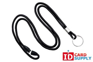 "Black 1/8"" Round Lanyard w/ Split Ring and Breakaway Feature 