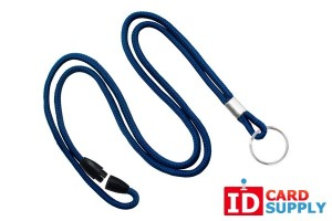 "Navy Blue 1/8"" Breakaway Lanyard with Split Ring Attachment 