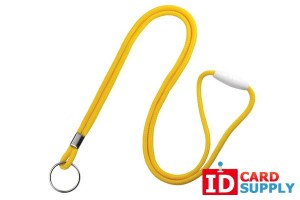 "Yellow Round 1/8"" Lanyard with Breakaway Feature and Split Ring 