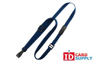 "Navy Blue 3/8"" Flat Breakaway Lanyard with Slide Adjuster and ""No-Twist"" Plastic Hook"