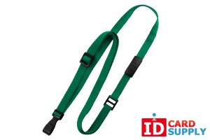 "Qty: 100 | Green 3/8"" Flat Adjustable Breakaway Lanyard w/ Slide Adjuster and Wide Plastic Hook"