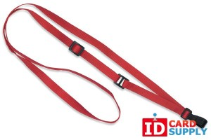 "Red 3/8"" Flat Adjustable Breakaway Lanyard w/ Slide Adjuster and Plastic Hook 