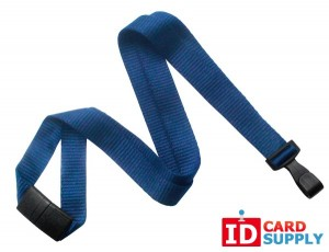 "Navy Blue Eco-Friendly Lanyard w/Breakaway Strap and ""No Twist"" Plastic Hook (QTY100)"