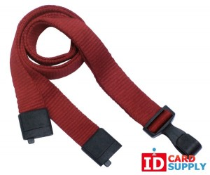 "Pack of 1000 | Red Eco-Friendly Lanyard w/Breakaway Strap and ""No Twist"" Plastic Hook"