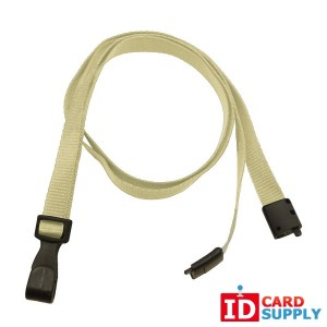 White, Eco Friendly Lanyard w/Breakaway Strap and Plastic Hook (QTY100)