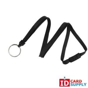 """Black 3/8"""" Flat Woven Breakaway Lanyard with Steel Split Ring (QTY: 100)"""