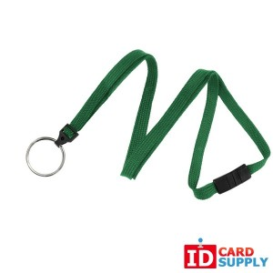 "Pack of 100 Green Woven 3/8"" Breakaway Lanyards with Split Ring End Atttachment"
