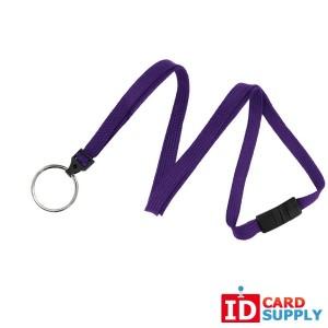 "Qty 100 | Purple 3/8"" Breakaway Woven Lanyard with Steel Plated Split Ring"