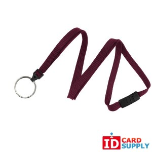 "(Qty: 100) Maroon 3/8"" Woven Breakaway Lanyard w/ Nickel-Plated Split Ring"