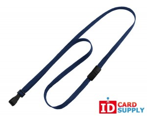Navy Blue Flat Braided Lanyard w/ Breakaway Strap and Plastic Hook | Pack of 100