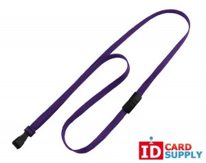 Purple 10mm Flat Woven Lanyard w/ Black Wide Hook Ending (100)