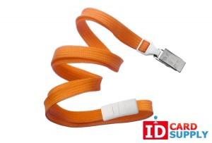 "Orange breakaway 3/8"" lanyard w/ bulldog clip {2137-6005} | Pack of 100"