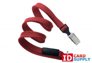"{2137-6006}Red Flat Braided Breakaway 3/8"" Lanyard w/ Bulldog Clip(100)"