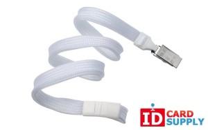 "White DETACH 3/8"" Breakaway Lanyard w/ stainless steel bulldog clip(QTY 100) | 2137-6008"