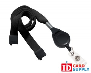 "QTY: 100 | Black 5/8"" Breakaway Lanyard with Built-In Badge Reel"