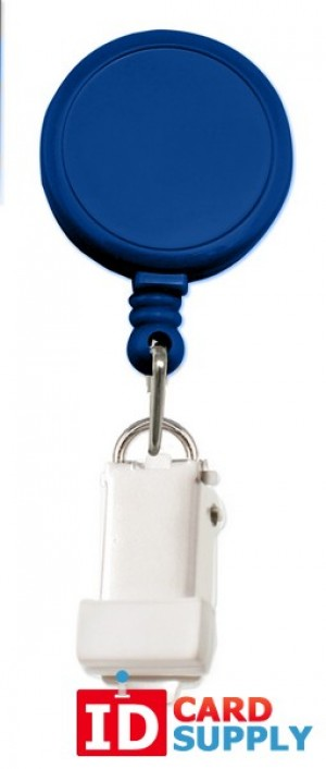 QTY: 25 | Royal Blue Round Badge Reel With Card Clamp And Slide Clip
