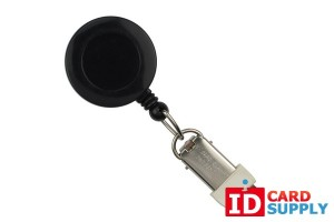 QTY: 25 | Black Round Badge Reel With Card Clamp And Swivel Clip