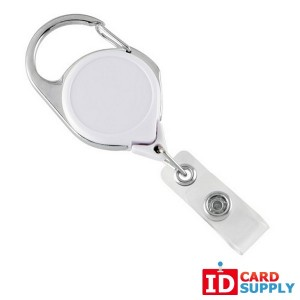 25 White Carabiner Badge Reels w/ Belt Clip