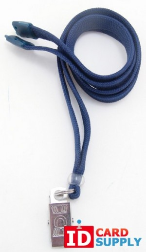 3/8'' Royal Blue Lanyard w/Breakaway and Bulldog Clip (QTY: 100)