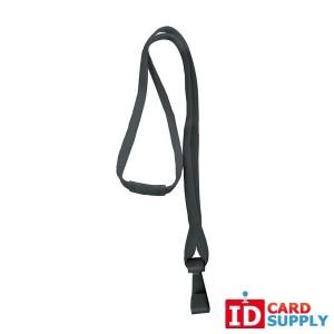 3/8'' Wide Black Lanyard w/ Plastic Hook (QTY:100)