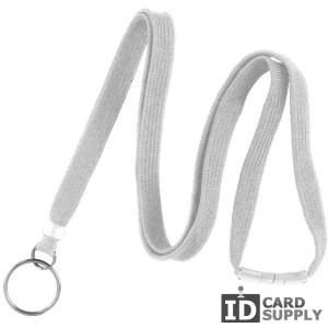 3/8'' White Lanyard w/ Split Ring and Breakaway Strap (QTY:100)