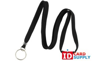 10mm Black Lanyard w/Breakaway Strap and Split Ring (Bundle of 100)