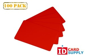 100 Red PVC Graphics Quality PVC Cards (Standard Size and Thickness)