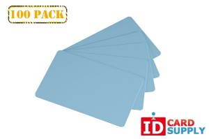 Set of 100 Light Blue Graphics Quality Standard PVC Cards by easyIDea