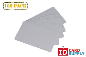 Set of 100 Gray PVC Cards | Standard Size and Thickness (CR80)