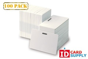 Standard CR80 Size White 30 Mil PVC Cards with Horizontal Slot Punch | 100 Cards in Pack