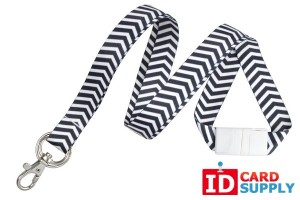 "Black and White 5/8"" Zig-Zag Pattern Lanyard with NPS Split Ring and Trigger Snap (QTY: 50)"